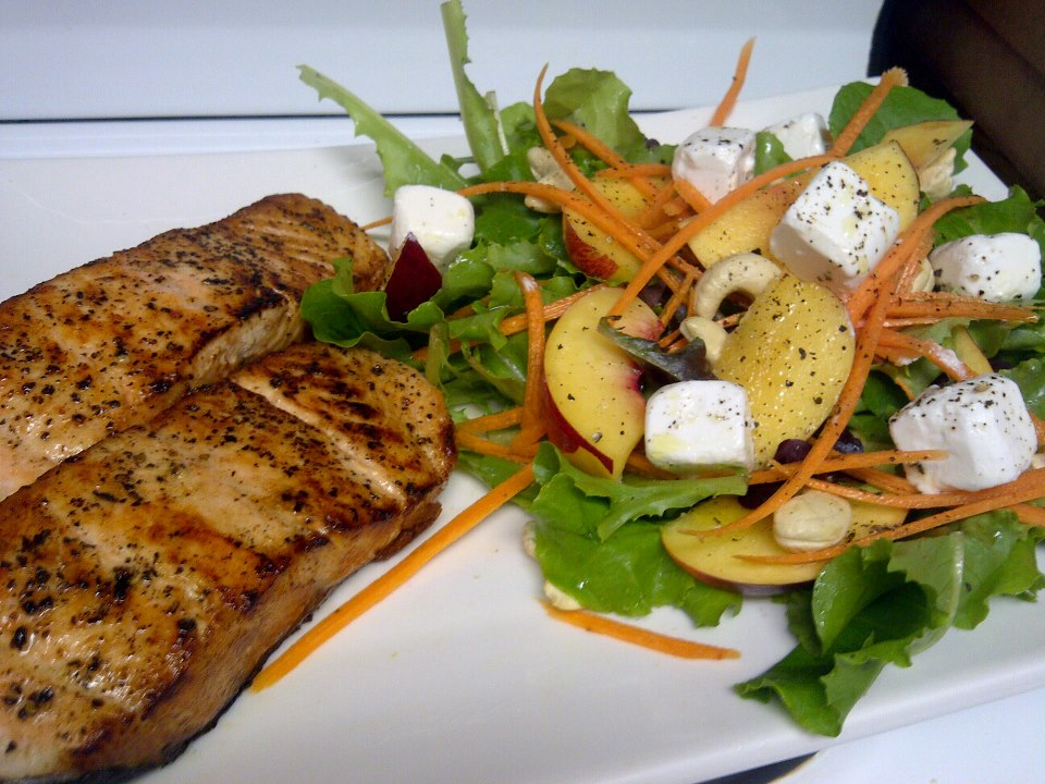 Norwegian Salmon Steaks with a Nectarine, Feta and Cashew nut Salad ...