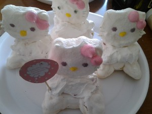 Hello Kitty Pavlova nests - with strawberries and cream