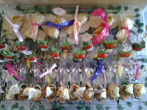 Caprese Skewers  & Phyllo bows filled with chicken kebabs with mushroom sauce